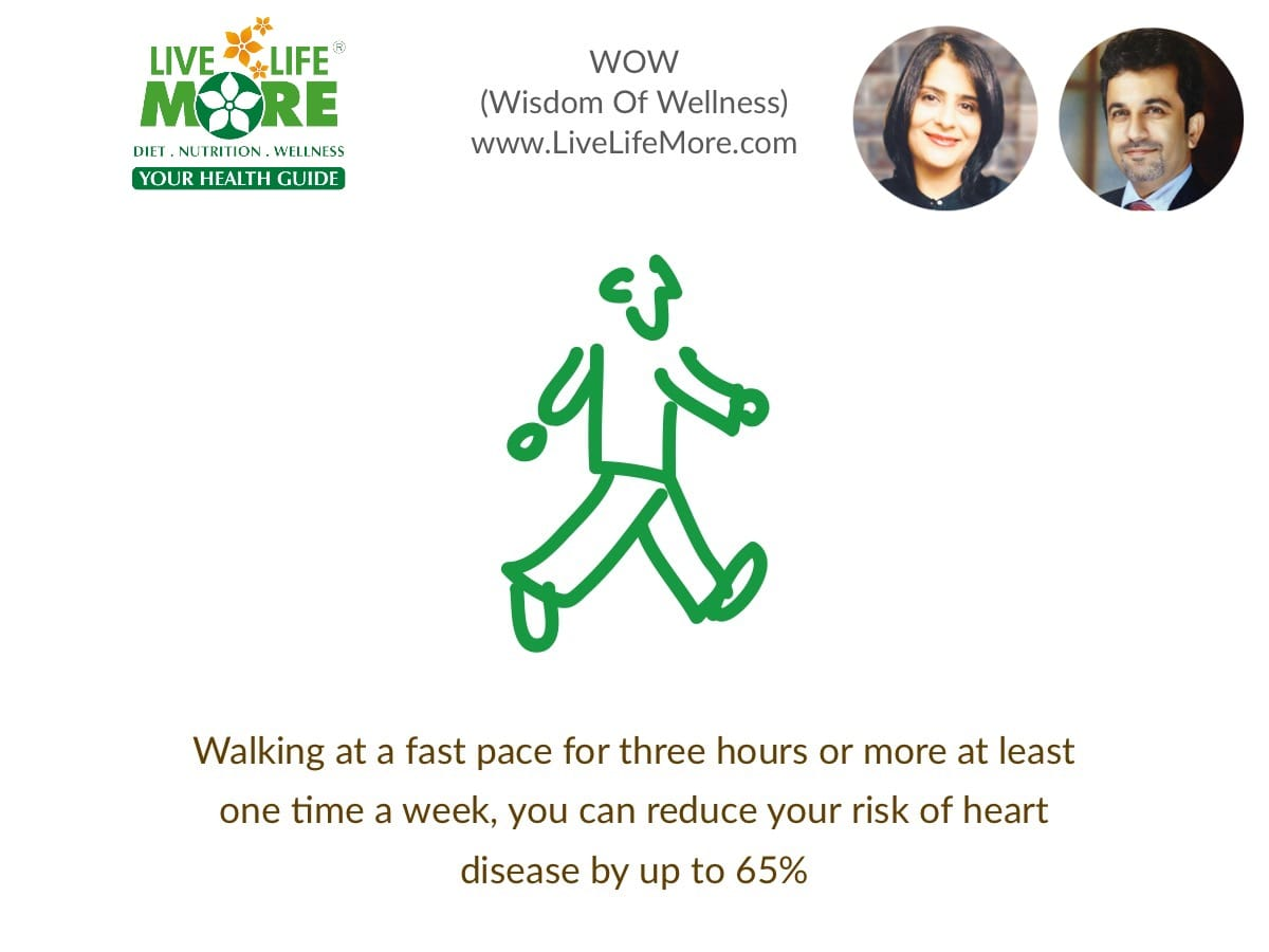 In the study, the researchers found that older adults who walked faster than 3 miles per hour had a 50 percent lower risk of heart disease than those who walked at a pace slower than 2 miles per hour.
