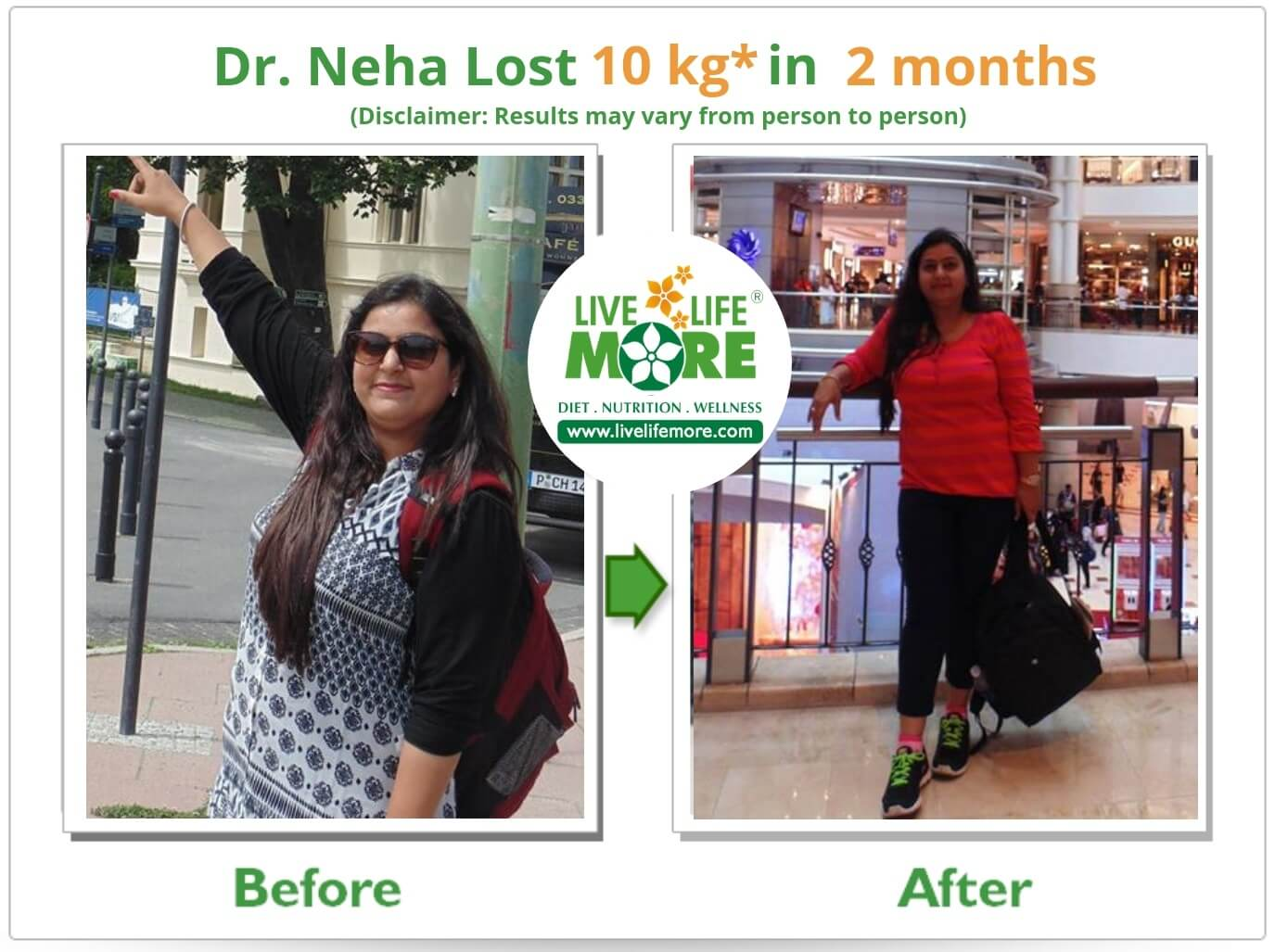 Dr Neha Before After Result Weight Loss -LiveLifeMore